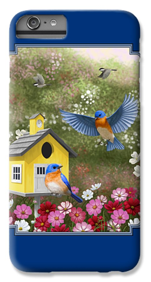 Wild Birds IPhone 7 Plus Case featuring the painting Bluebirds And Yellow Birdhouse by Crista Forest