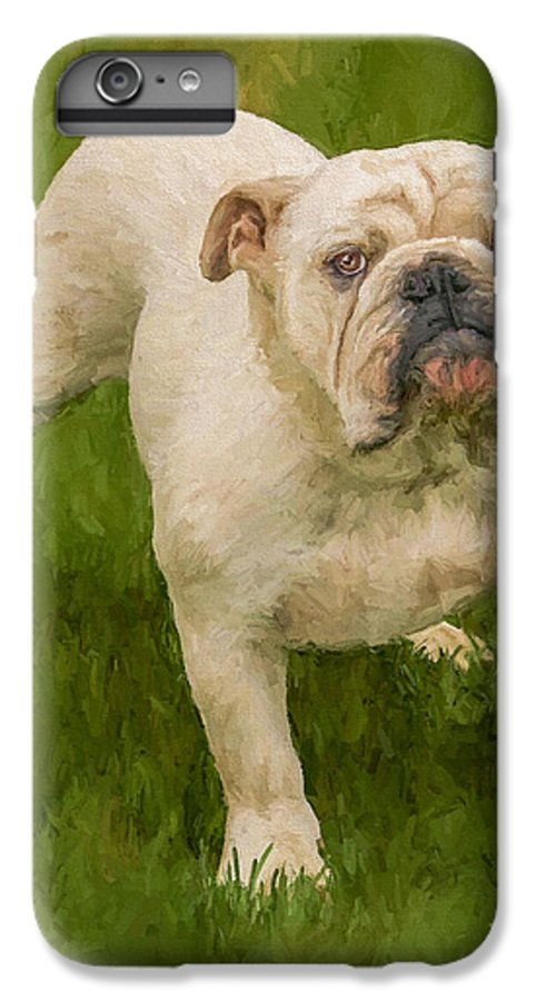 Dog IPhone 7 Plus Case featuring the painting Bruce The Bulldog by David Wagner