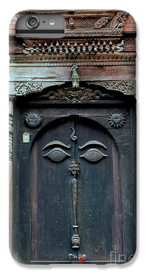 Nepal IPhone 7 Plus Case featuring the photograph Buddha's Eyes On Nepalese Wooden Door by Anna Lisa Yoder