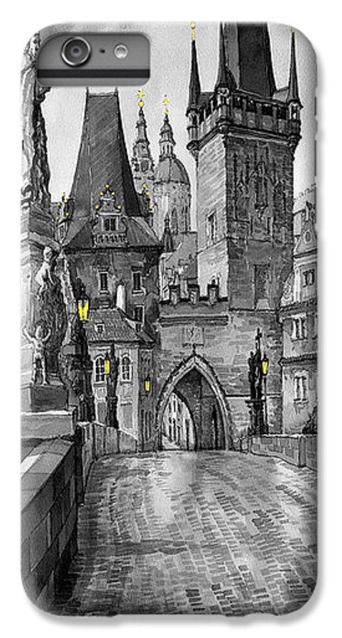 Prague IPhone 7 Plus Case featuring the painting Bw Prague Charles Bridge 02 by Yuriy Shevchuk