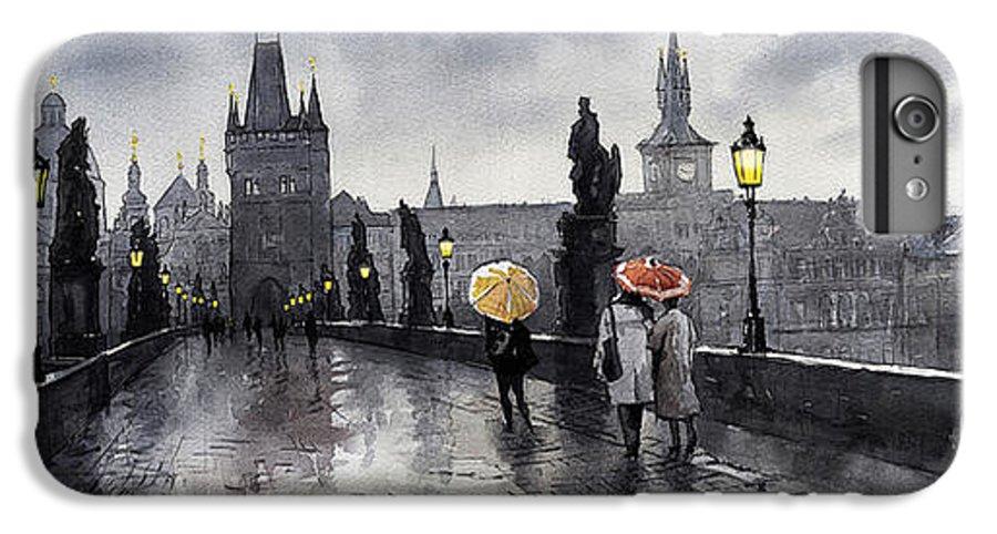 Prague IPhone 7 Plus Case featuring the painting Bw Prague Charles Bridge 05 by Yuriy Shevchuk
