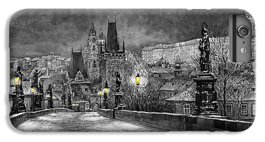 Prague IPhone 7 Plus Case featuring the painting Bw Prague Charles Bridge 06 by Yuriy Shevchuk