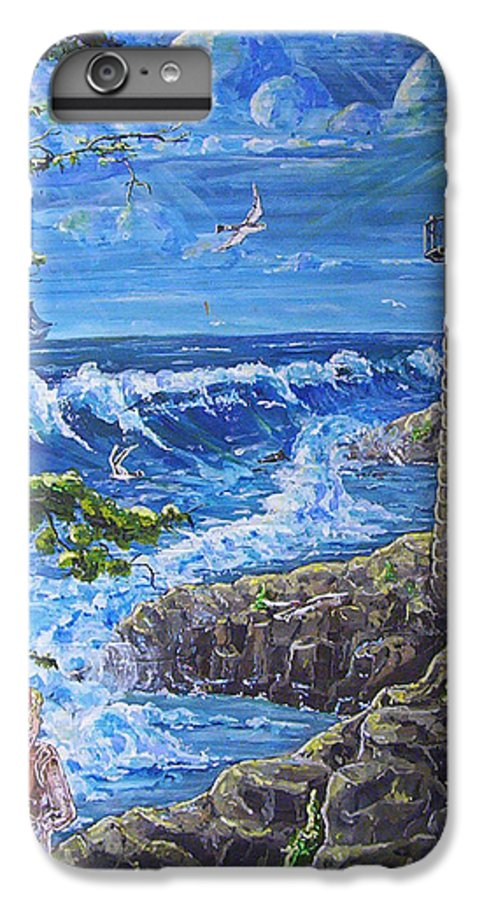 Seascape IPhone 7 Plus Case featuring the painting By The Sea by Phyllis Mae Richardson Fisher