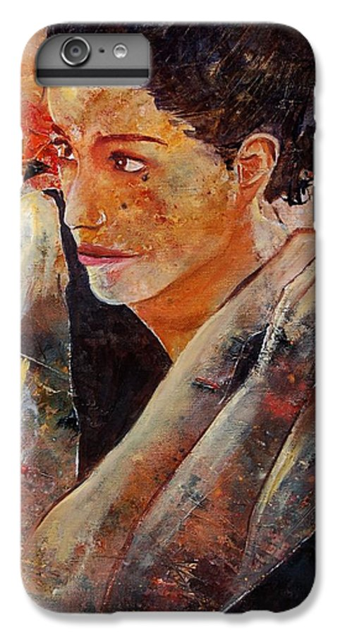 Figurative IPhone 7 Plus Case featuring the painting Candid Eyes by Pol Ledent