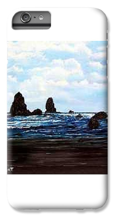 This Is Cannon Beach Oregon. This Painting Is Framed In A Lovely Gold Tone Frame. IPhone 7 Plus Case featuring the painting Cannon Beach by Darla Boljat