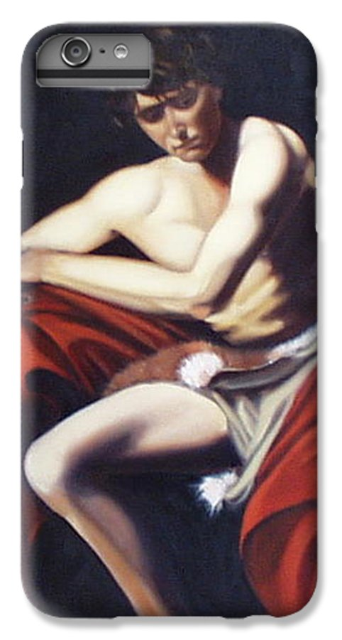 Caravaggio IPhone 7 Plus Case featuring the painting Caravaggio's John The Baptist Study by Toni Berry
