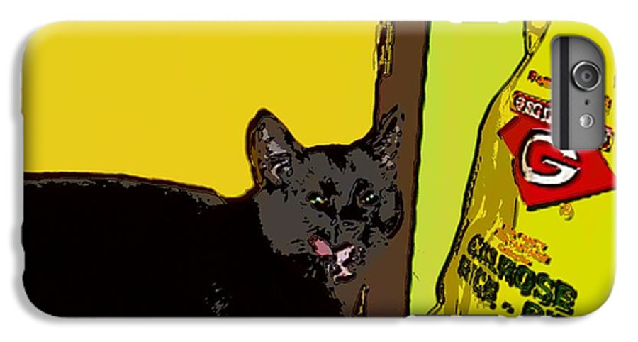 Photograph Cat Black Rice Yellow Critter Green Red IPhone 7 Plus Case featuring the photograph Cat And Rice by Seon-Jeong Kim