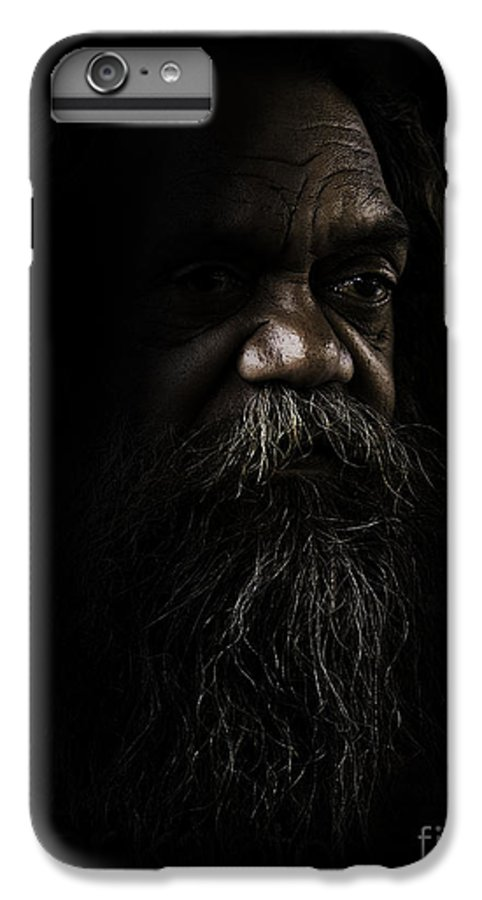 Fullblood Aborigine IPhone 7 Plus Case featuring the photograph Cedric In Shadows by Sheila Smart Fine Art Photography