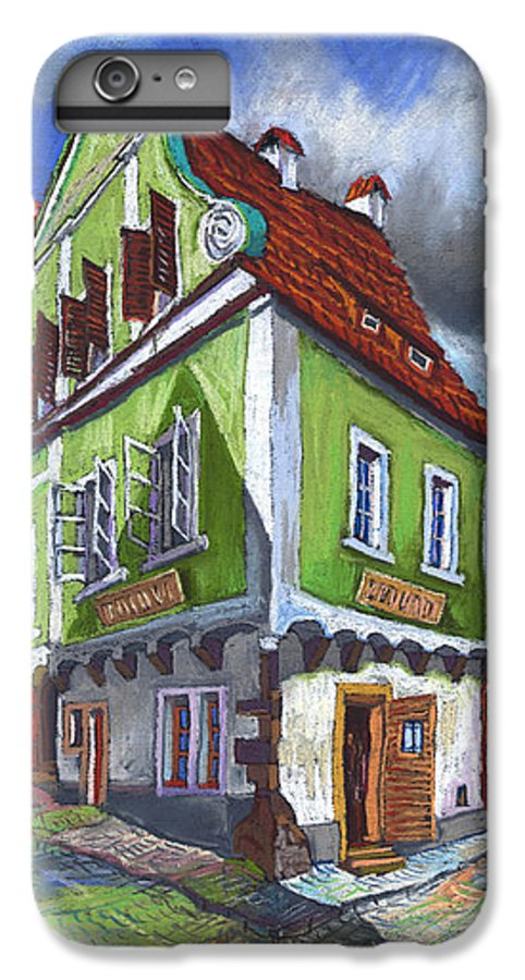 Pastel Chesky Krumlov Old Street Cityscape Realism Architectur IPhone 7 Plus Case featuring the painting Cesky Krumlov Old Street 3 by Yuriy Shevchuk