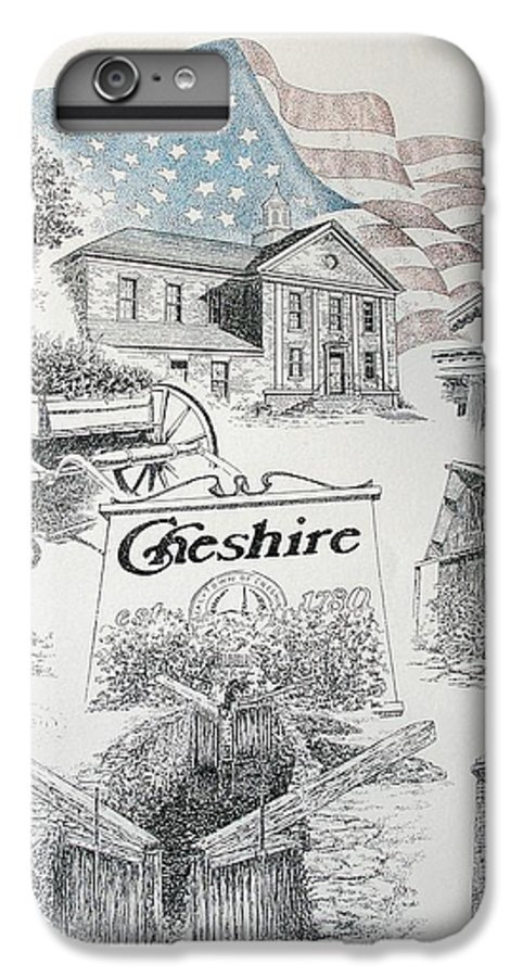 Connecticut Cheshire Ct Historical Poster Architecture Buildings New England IPhone 7 Plus Case featuring the drawing Cheshire Historical by Tony Ruggiero