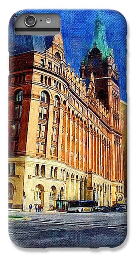 Architecture IPhone 7 Plus Case featuring the digital art City Hall And Lamp Post by Anita Burgermeister