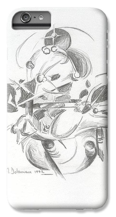 Abstract IPhone 7 Plus Case featuring the drawing Combat by Muriel Dolemieux