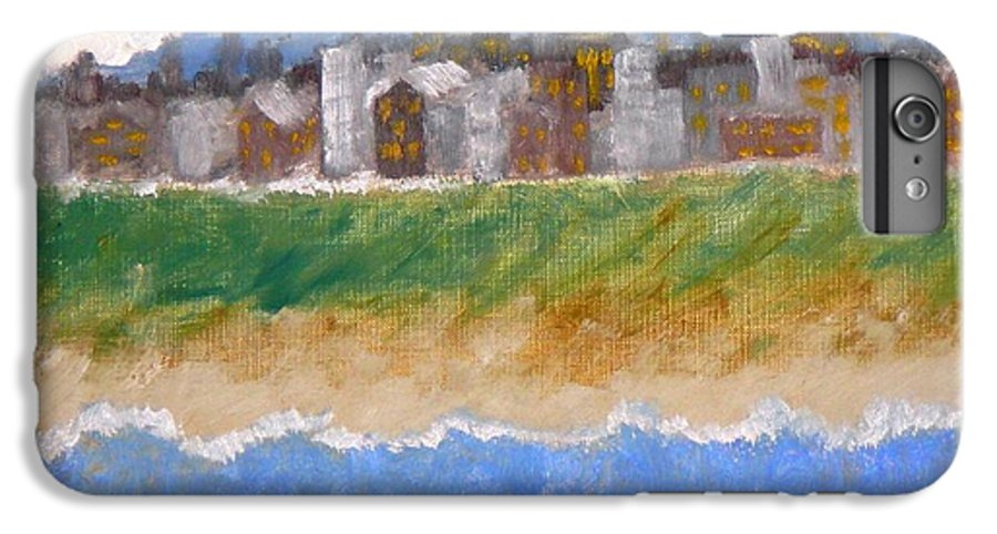 Seascape IPhone 7 Plus Case featuring the painting Crowded Beaches by R B