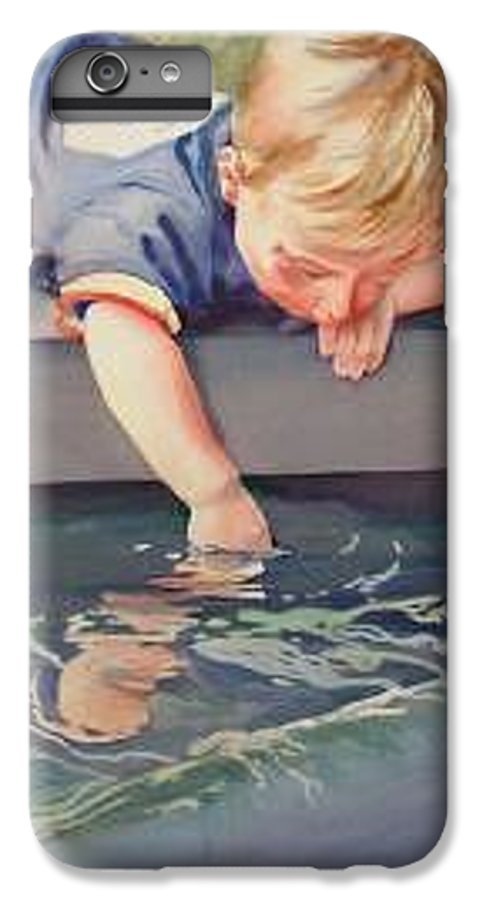 Boy Playing In Water IPhone 7 Plus Case featuring the painting Curious by Marlene Gremillion