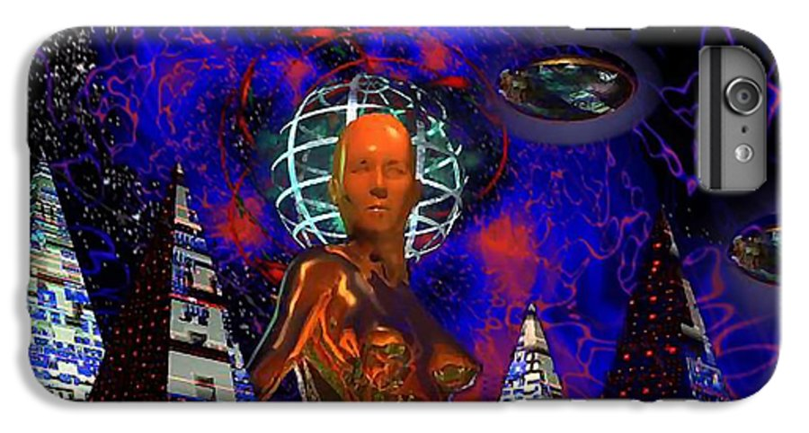 Martsolf IPhone 7 Plus Case featuring the digital art Cybergal Temple by Dave Martsolf