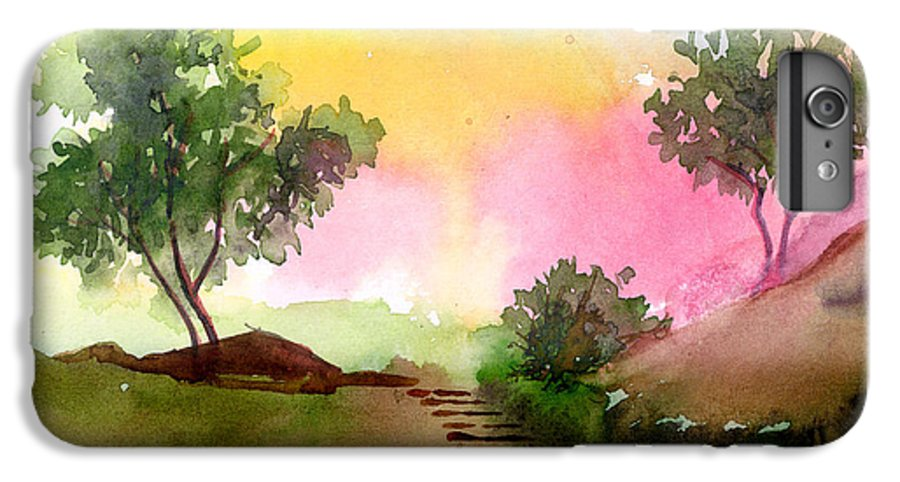 Landscape IPhone 7 Plus Case featuring the painting Dawn by Anil Nene