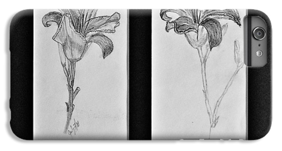 Pencil Sketches IPhone 7 Plus Case featuring the drawing Day Lilies by Peggy King