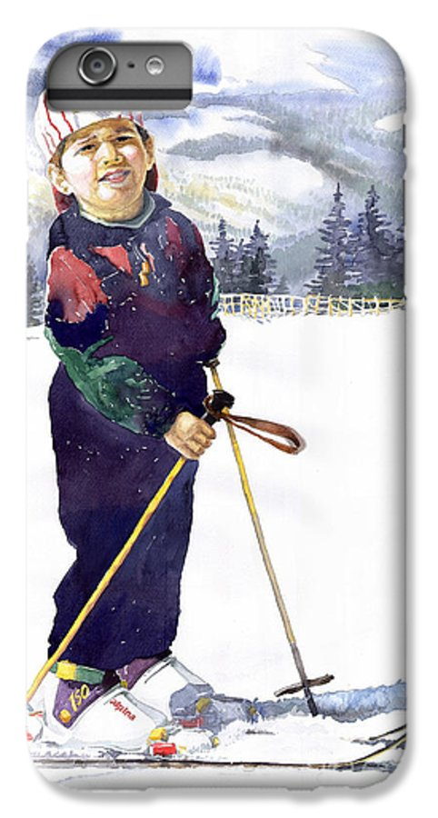 Watercolor Watercolour Figurative Ski Children Portret Realism IPhone 7 Plus Case featuring the painting Denis 03 by Yuriy Shevchuk