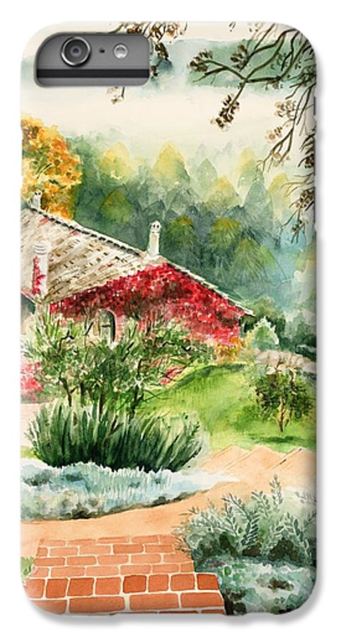 View Of Pathway To Red Cottage And Mountains In Mist IPhone 7 Plus Case featuring the painting Dievole Vineyard In Tuscany by Judy Swerlick