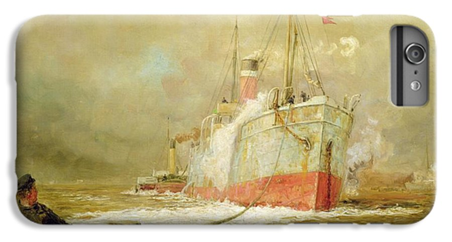 Docking IPhone 7 Plus Case featuring the painting Docking A Cargo Ship by William Lionel Wyllie