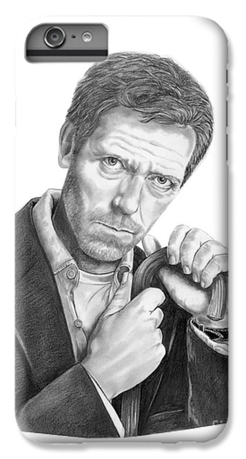 Drawing IPhone 7 Plus Case featuring the drawing Dr. House Hugh Laurie by Murphy Elliott
