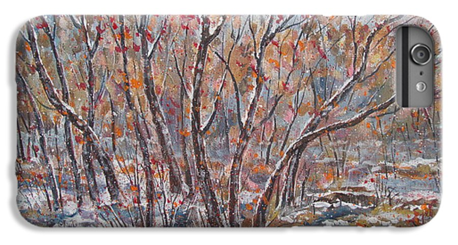 Landscape IPhone 7 Plus Case featuring the painting Early Snow. by Leonard Holland
