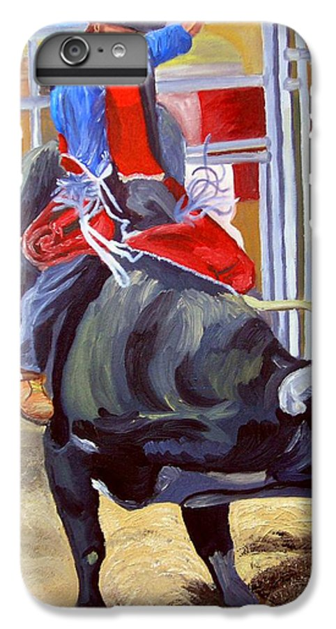 Bull Riding IPhone 7 Plus Case featuring the painting Eight Long Seconds by Michael Lee
