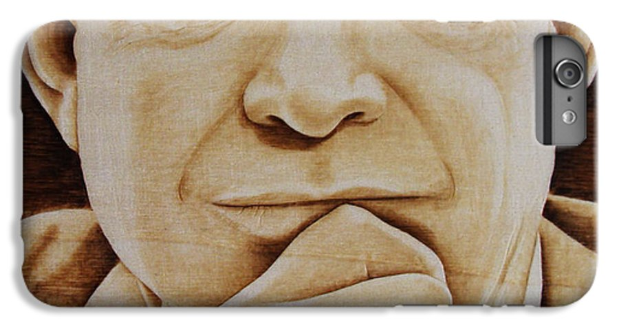 Pyrography; Portrait;; President; Sepia; Human; Eyes; Ears; Eisenhower; Woodburning; Jo Schwartz IPhone 7 Plus Case featuring the pyrography Eisenhower - The Man by Jo Schwartz