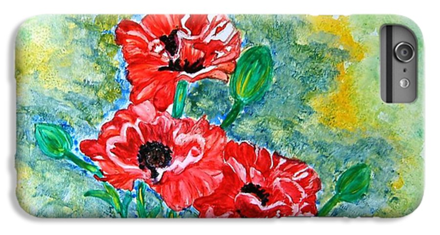 Poppies Flowers Red Yellow Green Blue Acrylic Watercolor Yupo Elegant Landscape IPhone 7 Plus Case featuring the painting Elegant Poppies by Manjiri Kanvinde