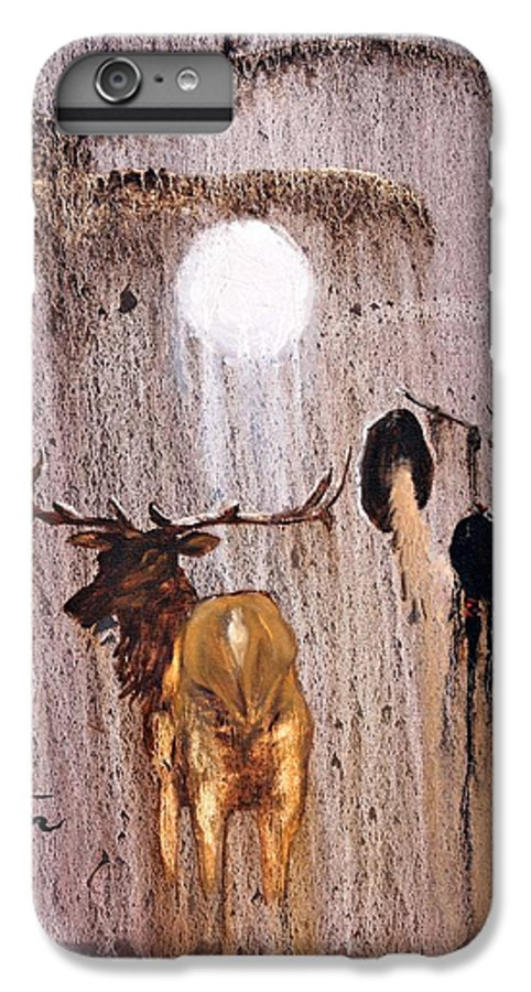 Native Art IPhone 7 Plus Case featuring the painting Elk Spirit by Patrick Trotter