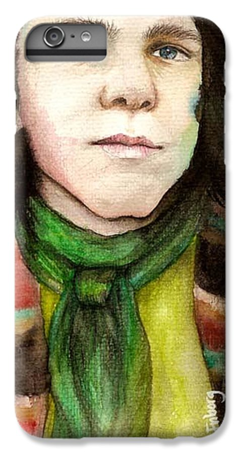 Boy IPhone 7 Plus Case featuring the drawing Emil by Freja Friborg