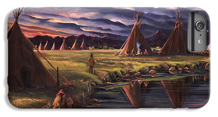 Native American IPhone 7 Plus Case featuring the painting Encampment At Dusk by Nancy Griswold