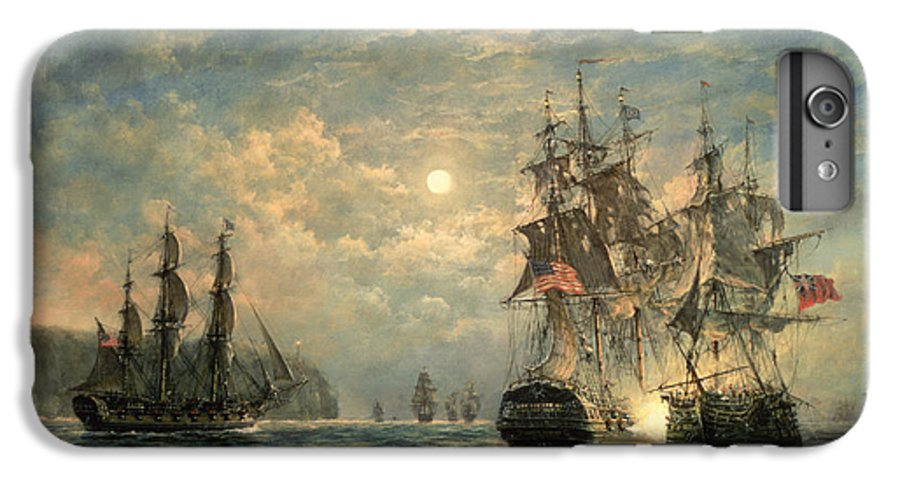 American War Of Independence IPhone 7 Plus Case featuring the painting Engagement Between The 'bonhomme Richard' And The ' Serapis' Off Flamborough Head by Richard Willis