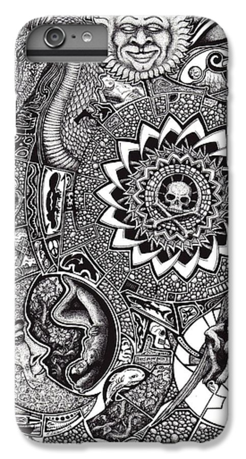 Black And White IPhone 7 Plus Case featuring the drawing Epiphany by Tobey Anderson