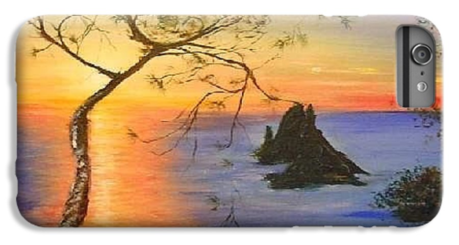 Sunset IPhone 7 Plus Case featuring the painting Es Vedra Island Off Ibiza South Coast by Lizzy Forrester