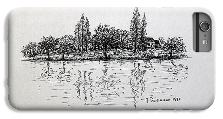 Landscape IPhone 7 Plus Case featuring the drawing Etang by Muriel Dolemieux
