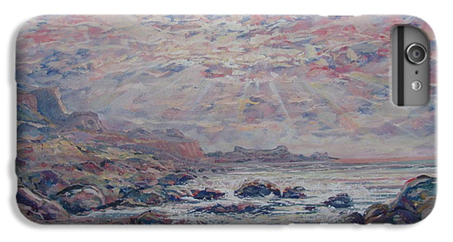 Seascape IPhone 7 Plus Case featuring the painting Evening At The Beach by Leonard Holland
