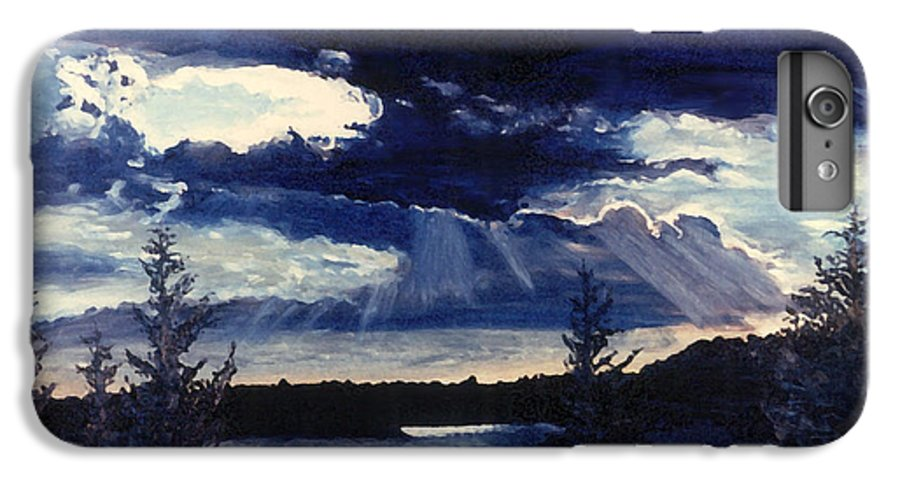 Landscape IPhone 7 Plus Case featuring the painting Evening Lake by Steve Karol