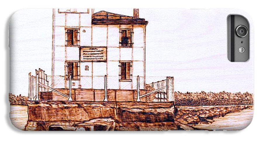 Lighthouse IPhone 7 Plus Case featuring the pyrography Fair Port Harbor by Danette Smith
