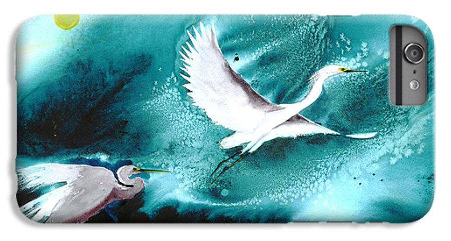 A Pair Of Egrets By The Water At Night- A Watercolor Painting IPhone 7 Plus Case featuring the painting Fairies by Mui-Joo Wee