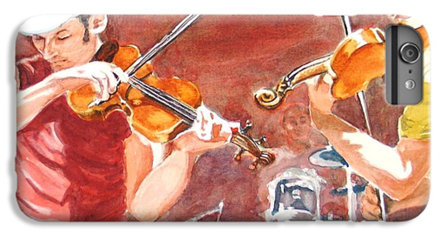 Musicians IPhone 7 Plus Case featuring the painting Fiddles by Karen Ilari