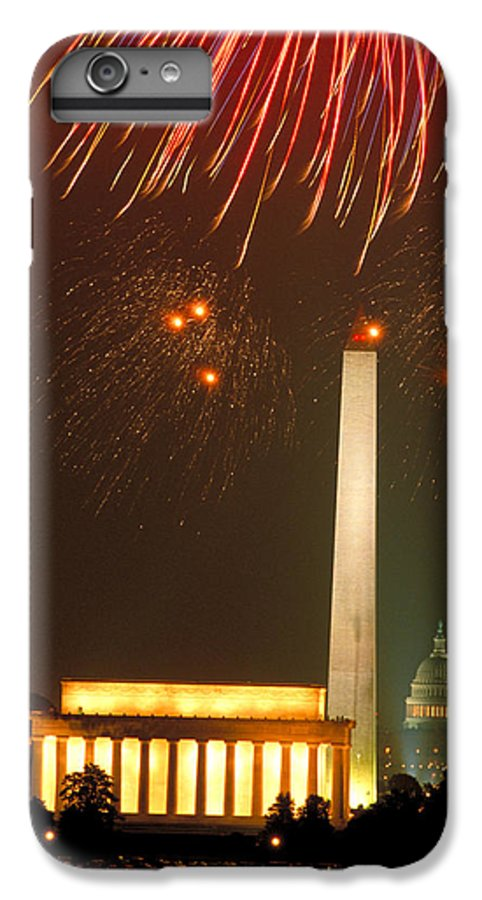 Illuminated IPhone 7 Plus Case featuring the photograph Fireworks Over Washington Dc Mall by Carl Purcell