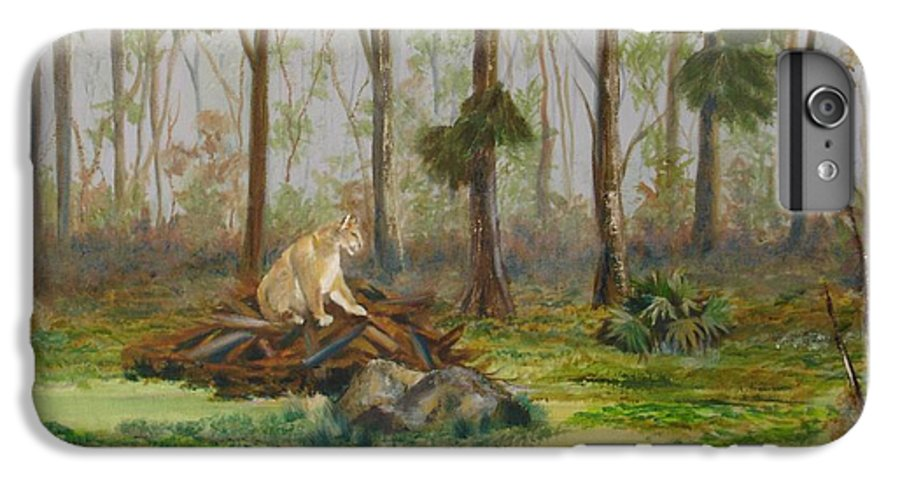 Florida IPhone 7 Plus Case featuring the painting Florida Panther by Susan Kubes