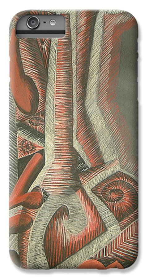 Abstract IPhone 7 Plus Case featuring the drawing Foot by Donald Burroughs