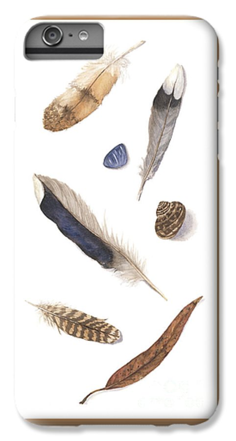 Feathers IPhone 7 Plus Case featuring the painting Found Treasures by Lucy Arnold
