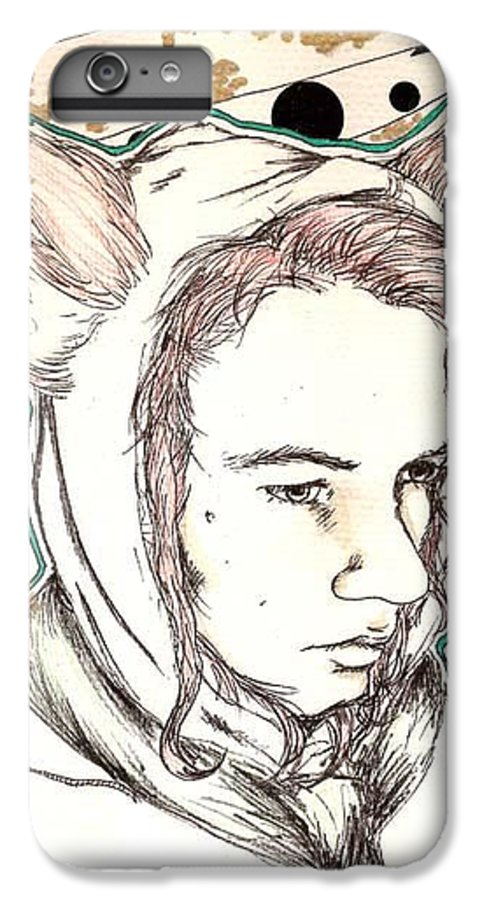 Ears Fow Star Boy Portrait Red IPhone 7 Plus Case featuring the drawing Fox by Freja Friborg