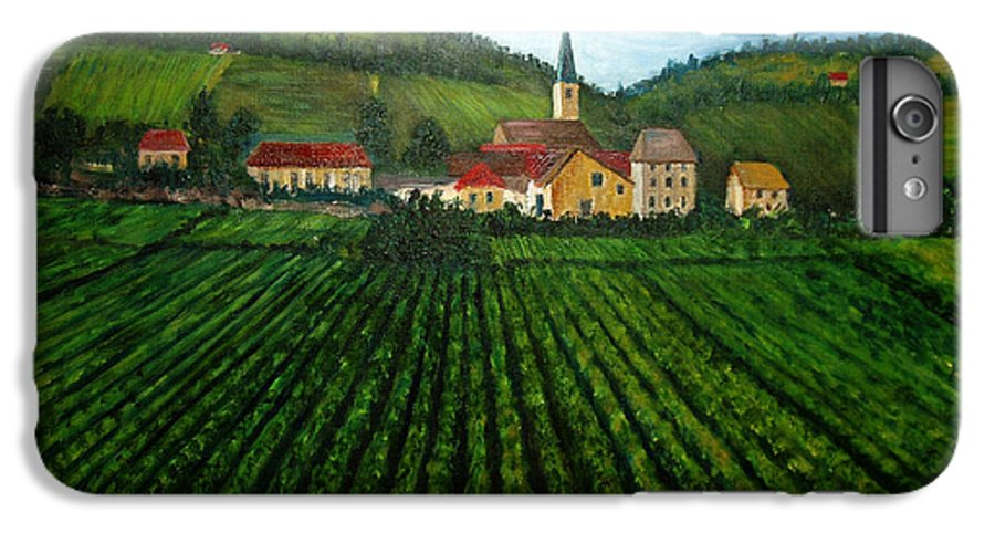 Acrylic IPhone 7 Plus Case featuring the painting French Village In The Vineyards by Nancy Mueller