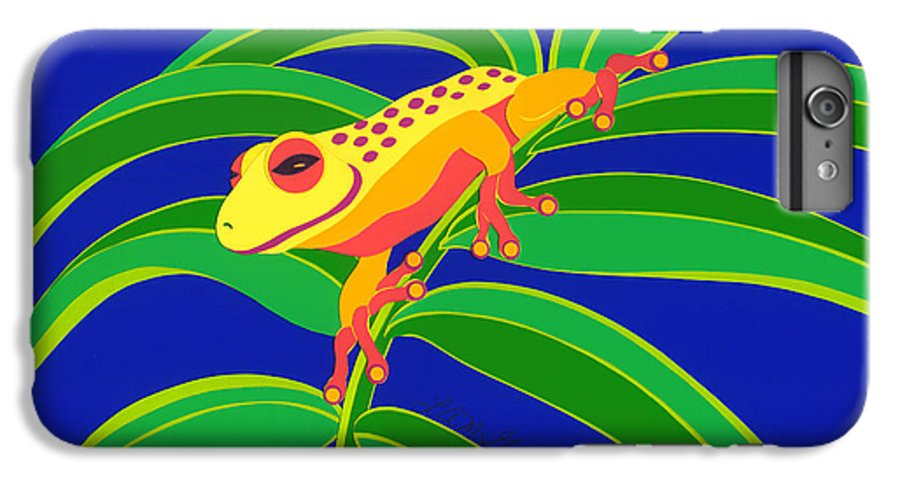 Nature IPhone 7 Plus Case featuring the drawing Frog On Branch by Lucyna A M Green
