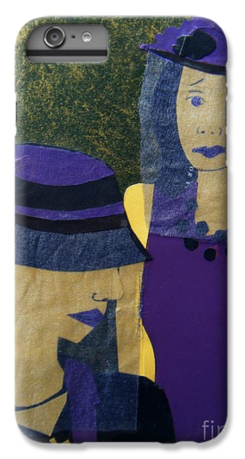 Purple IPhone 7 Plus Case featuring the mixed media Funeral Masks by Debra Bretton Robinson