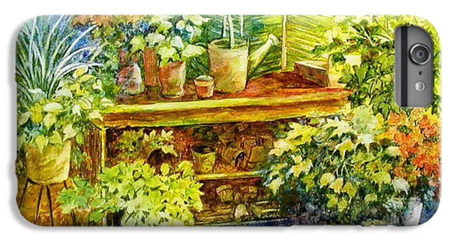 Greenhouse;plants;flowers;gardener;workbench;sprinkling Can;contemporary IPhone 7 Plus Case featuring the painting Gardener's Joy by Lois Mountz